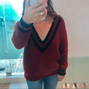 Varsity Knit Sweater Size M